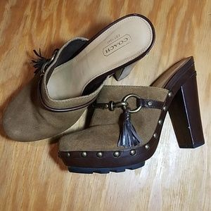 Coach brown suede Rana clogs with studs, tassels